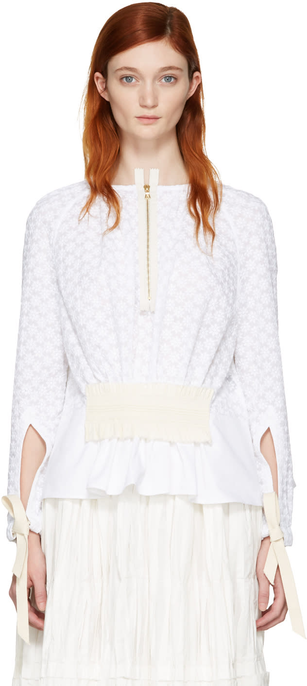 Ovelia Transtoto White Embroidered Zip Blouse