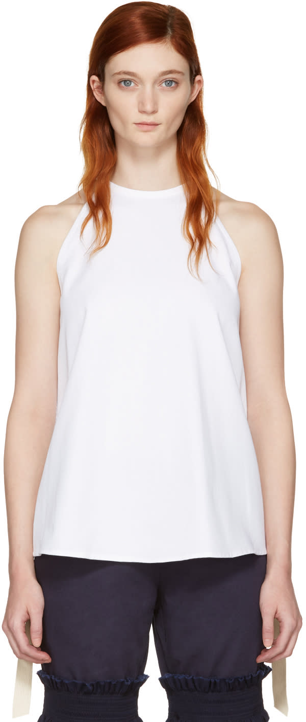 Ovelia Transtoto White Embroidered Halter Top
