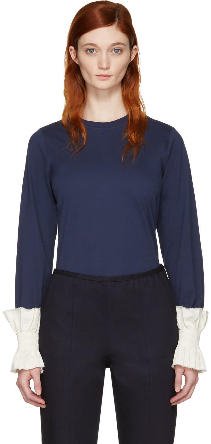 Ovelia Transtoto Navy Frill Cuff T-shirt
