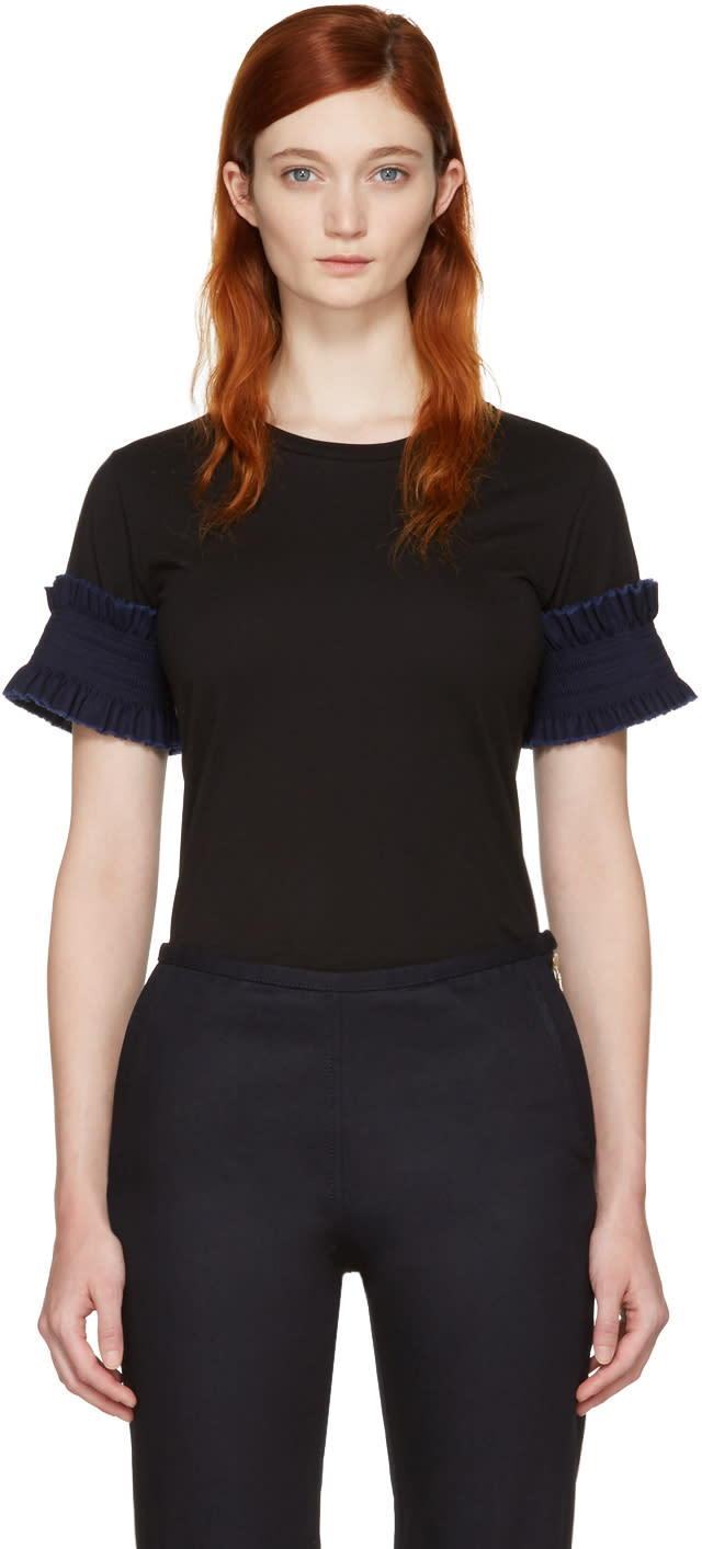 Image of Ovelia Transtoto Black Frill Sleeve T-shirt