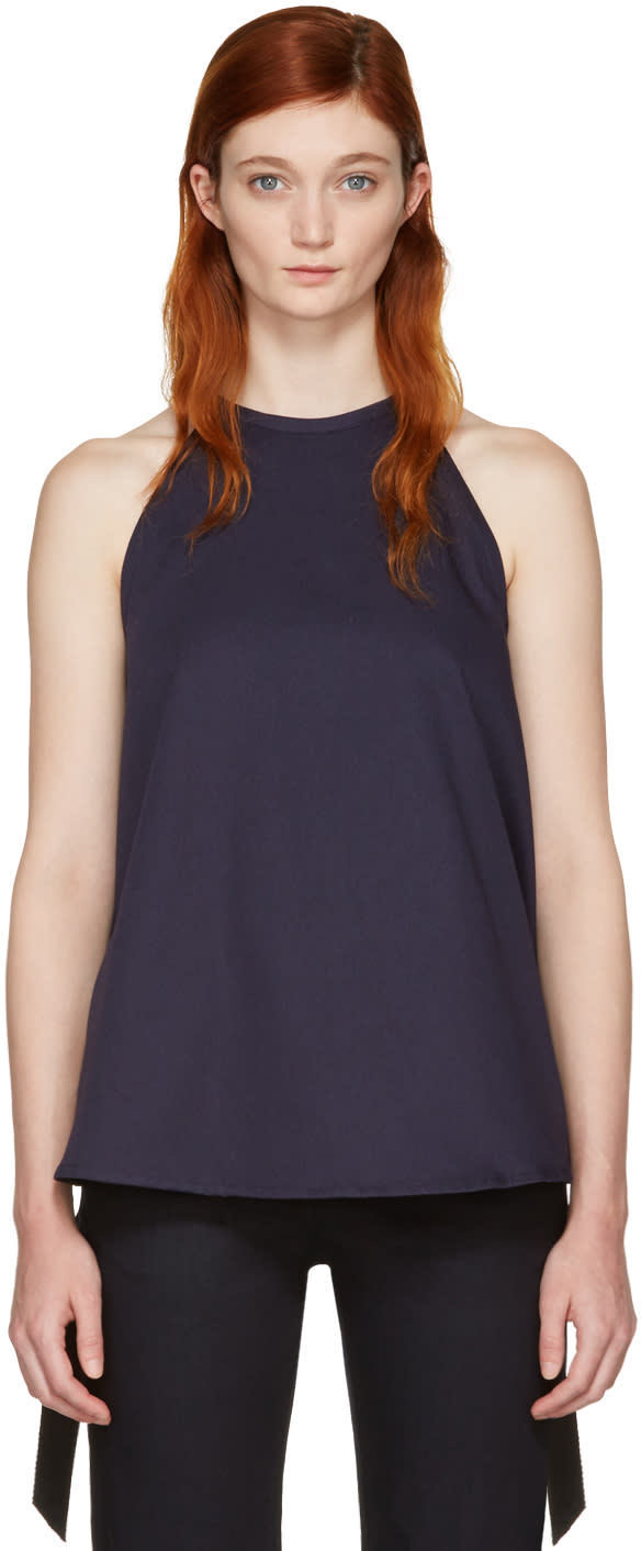 Ovelia Transtoto Navy Twill and Silk Halter Top
