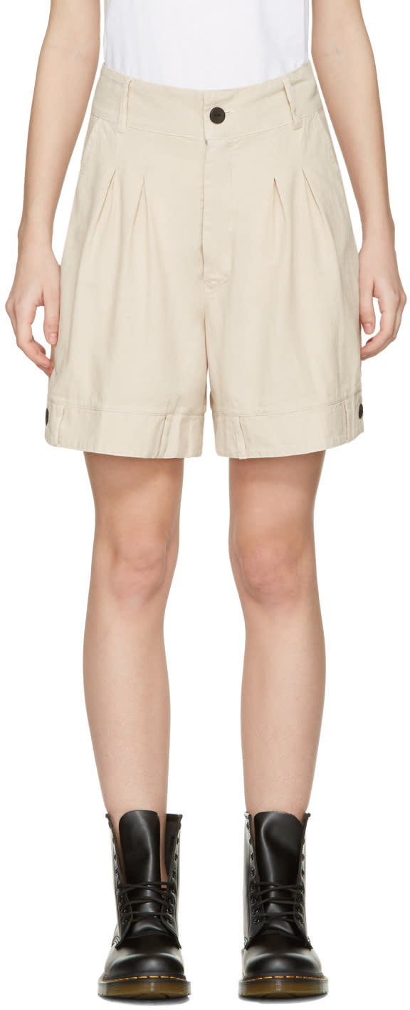 Image of 69 Beige Chambray Bermuda Shorts