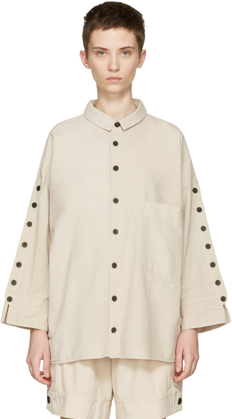 Image of 69 Beige Button Sleeves Shirt