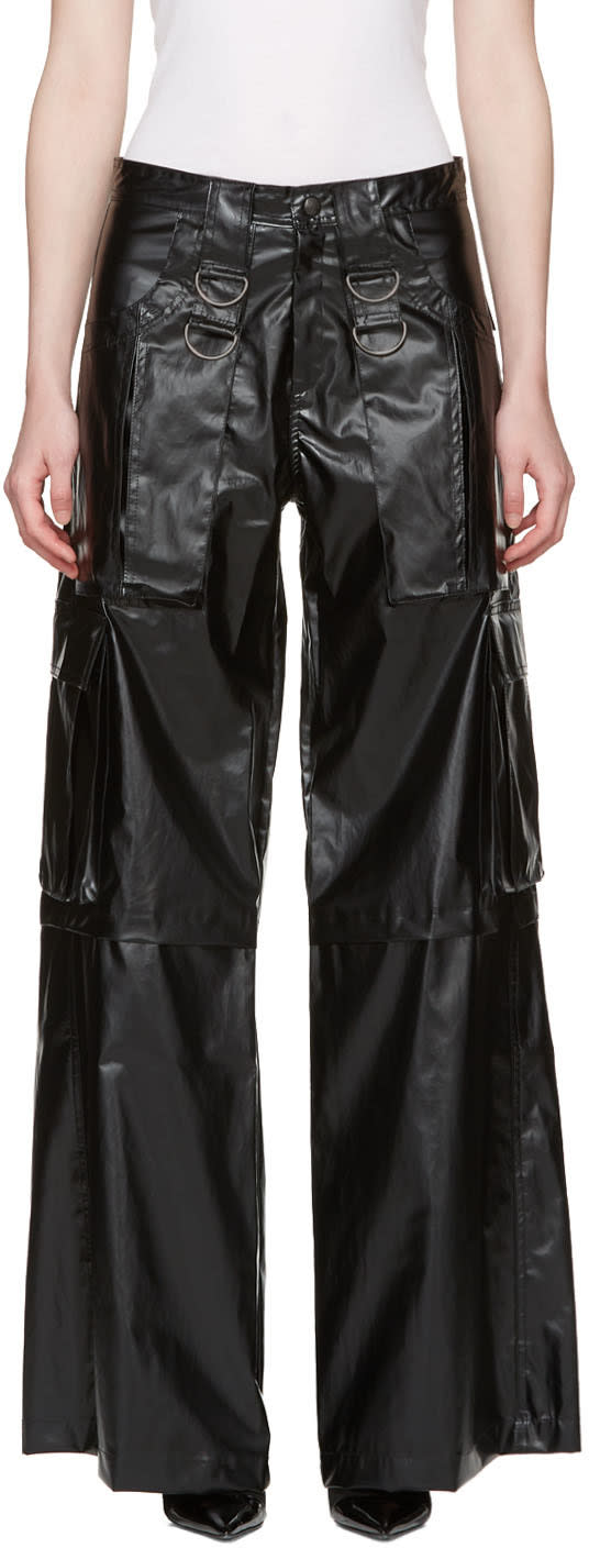 Misbhv Black Faux-leather Cargo Pants