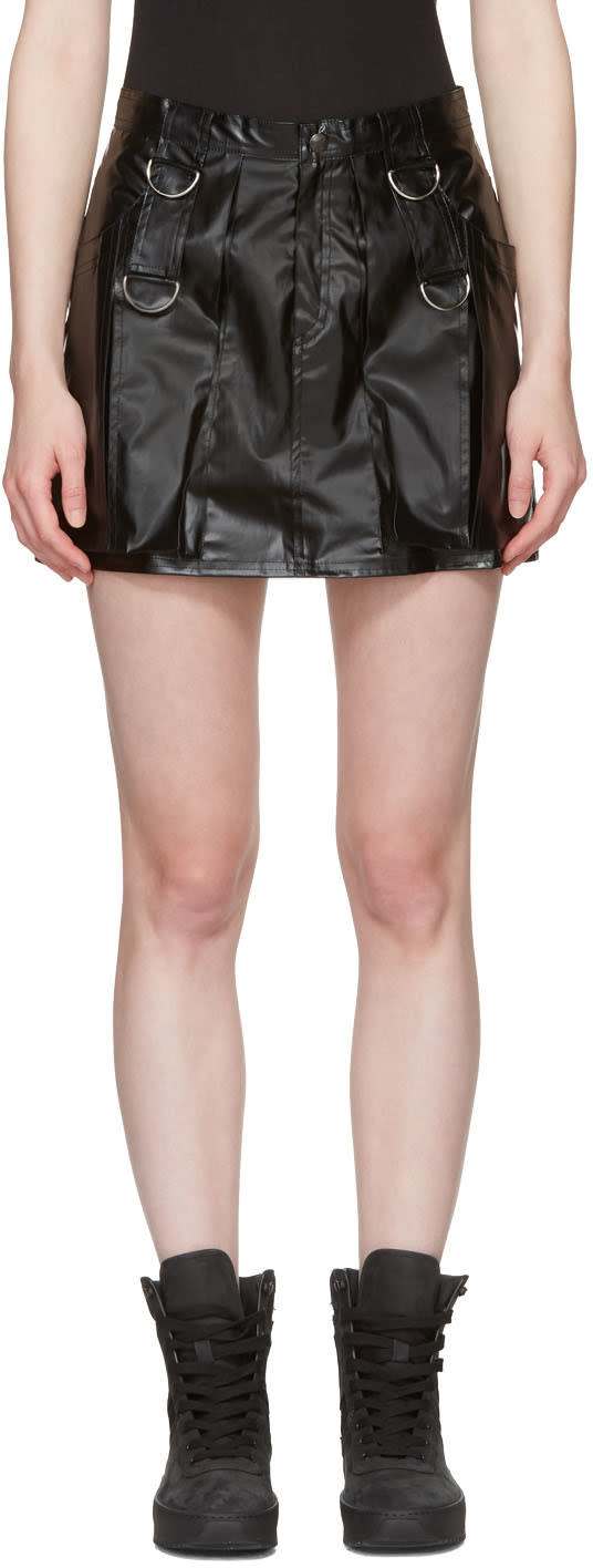 Misbhv Black Faux-leather Miniskirt