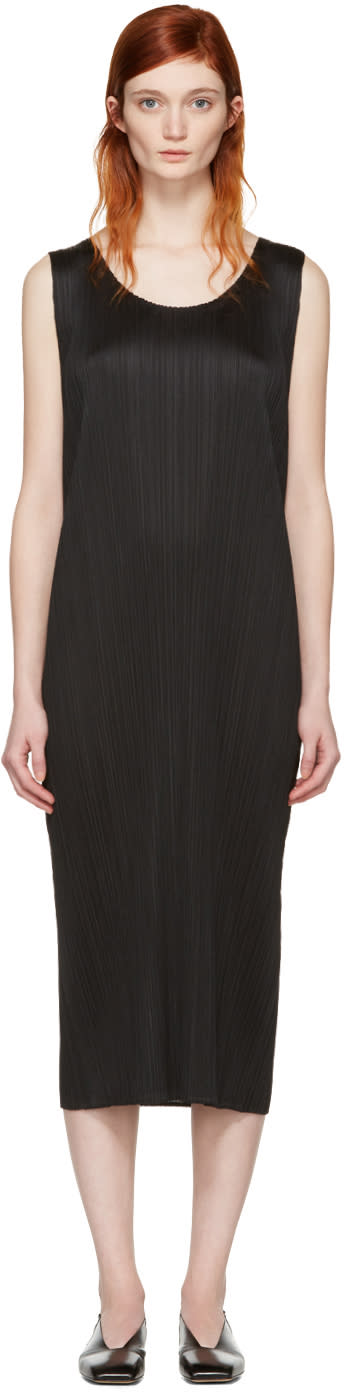 Pleats Please Issey Miyake Black Pleated Maxi Dress