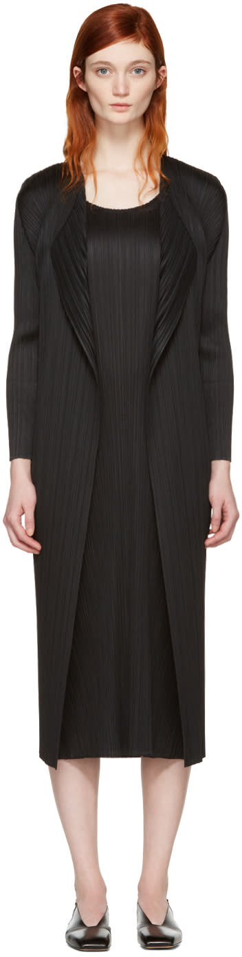 Pleats Please Issey Miyake Black Pleated Duster Coat