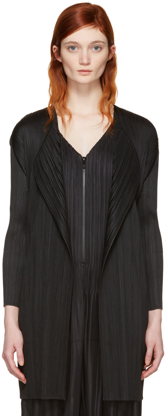 Pleats Please Issey Miyake Black Pleated Short Coat