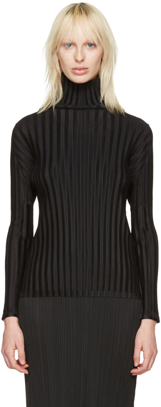 Pleats Please Issey Miyake Black Pleated Turtleneck
