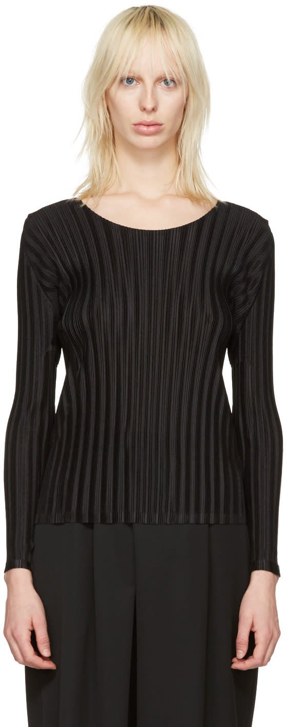 Pleats Please Issey Miyake Black Pleated Crew Blouse