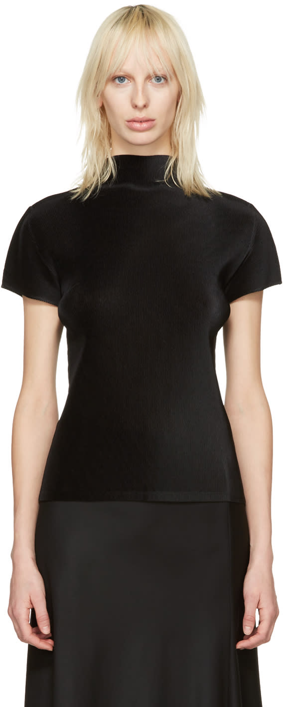 Pleats Please Issey Miyake Black Pleated Drama Sleeve Blouse