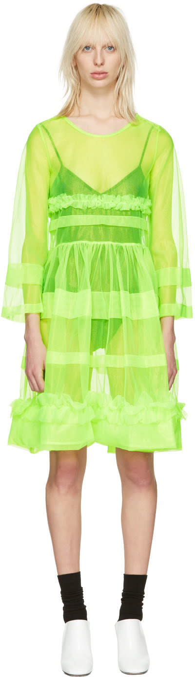 Molly Goddard Green Pleated Patty Dress