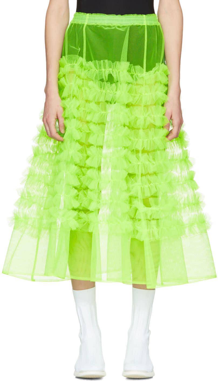 Molly Goddard Green Tulle Melanie Ruffle Skirt