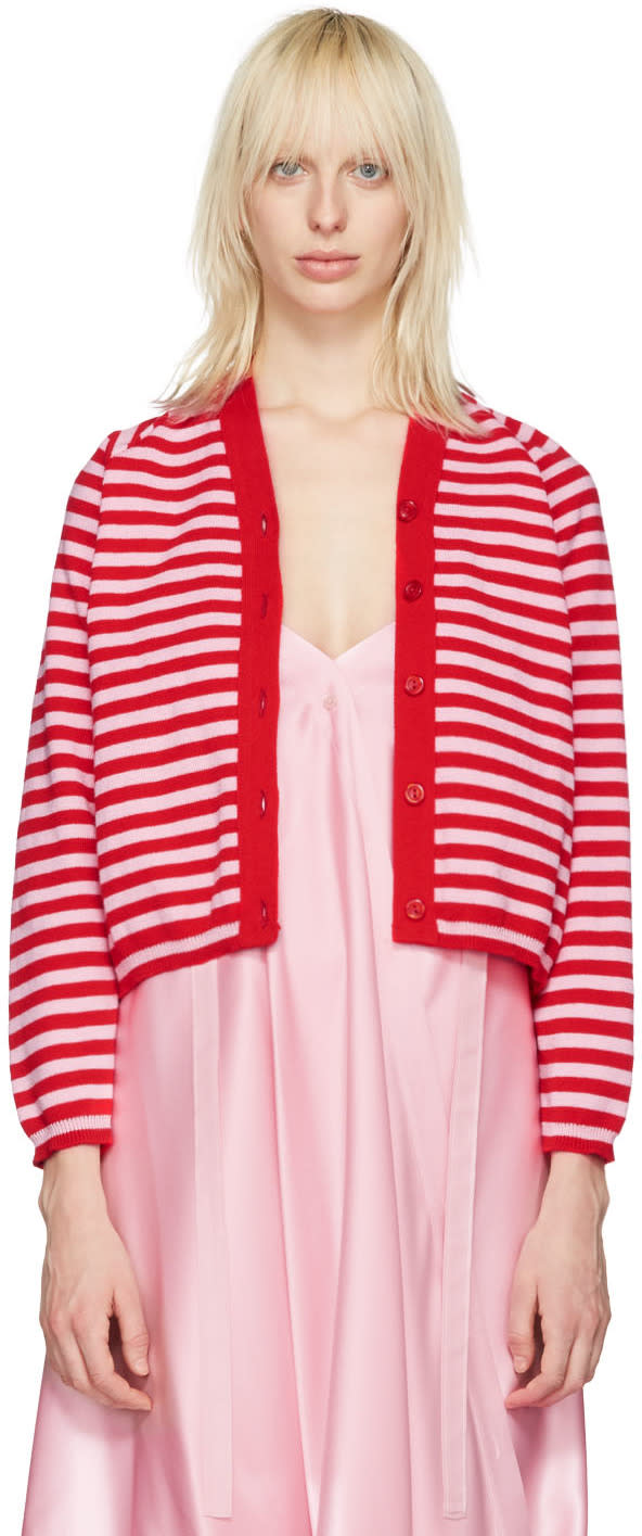 Molly Goddard Pink and Red Stripe Charlie Cardigan