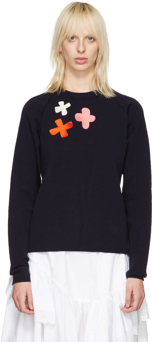 Molly Goddard Navy Embroidered Charlie Sweater