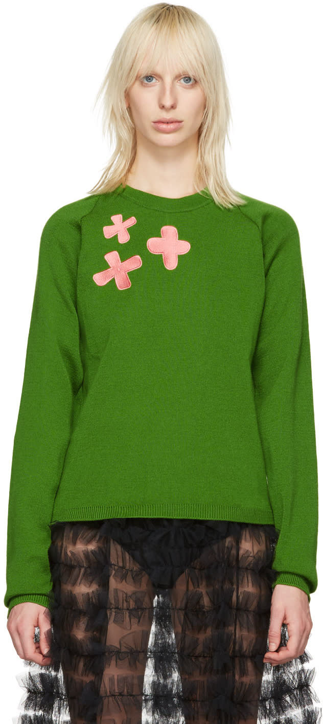 Molly Goddard Green Embroidered Charlie Sweater