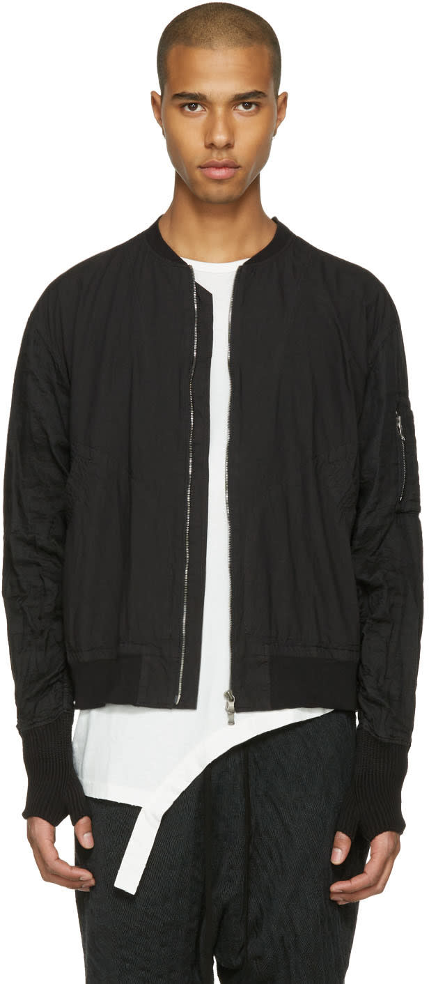 The Viridi-anne Black Zip-up Bomber Jacket