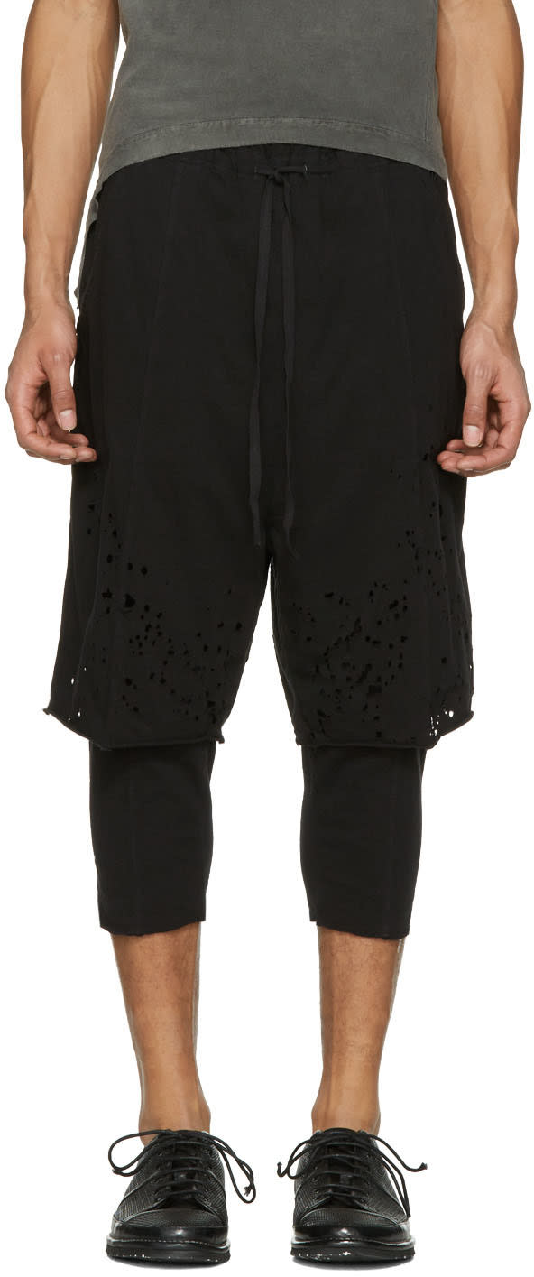 Image of The Viridi-anne Black Destroyed Layered Shorts