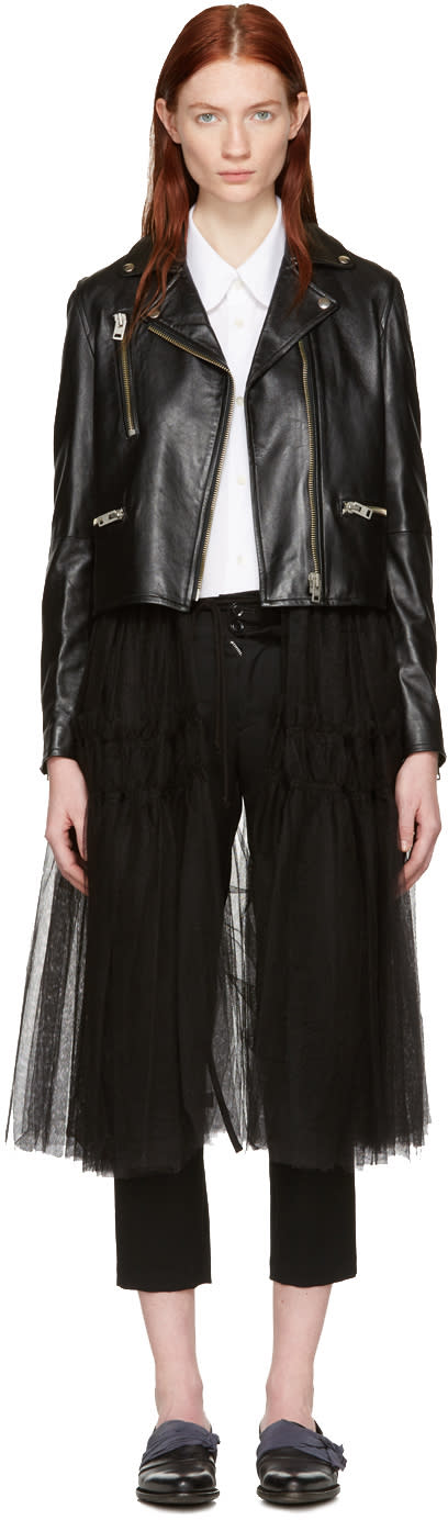 Chika Kisada Black Leather and Tulle Jacket