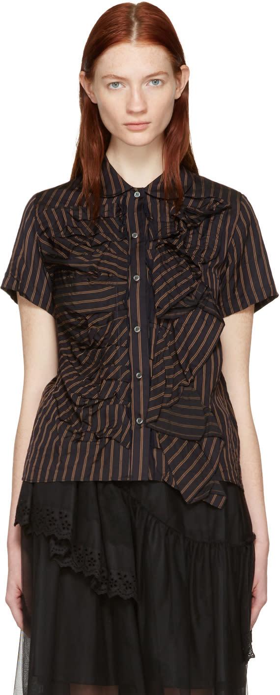 Chika Kisada Navy Striped Round Collar Shirt