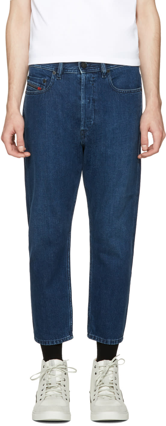 Diesel Blue Rhial L.32 Cropped Jeans