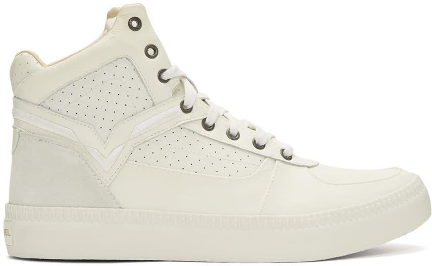 Diesel Off-white S-spaark Mid-top Sneakers