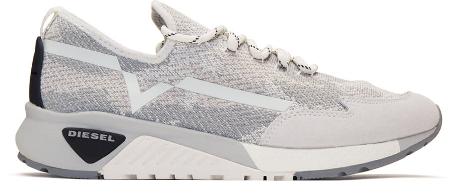Diesel White and Grey S-kby Sneakers