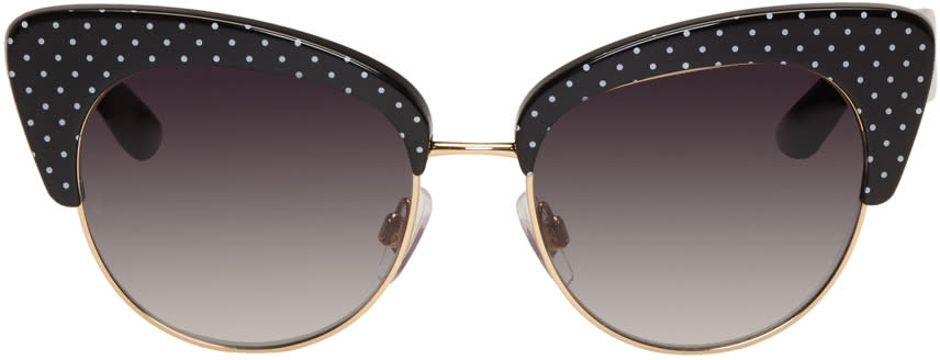 Dolce and Gabbana Gold and Black Cat Eye Sunglasses
