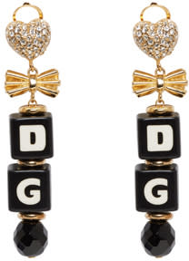 Image of Dolce and Gabbana Black and Gold Dice Clip-on Earrings