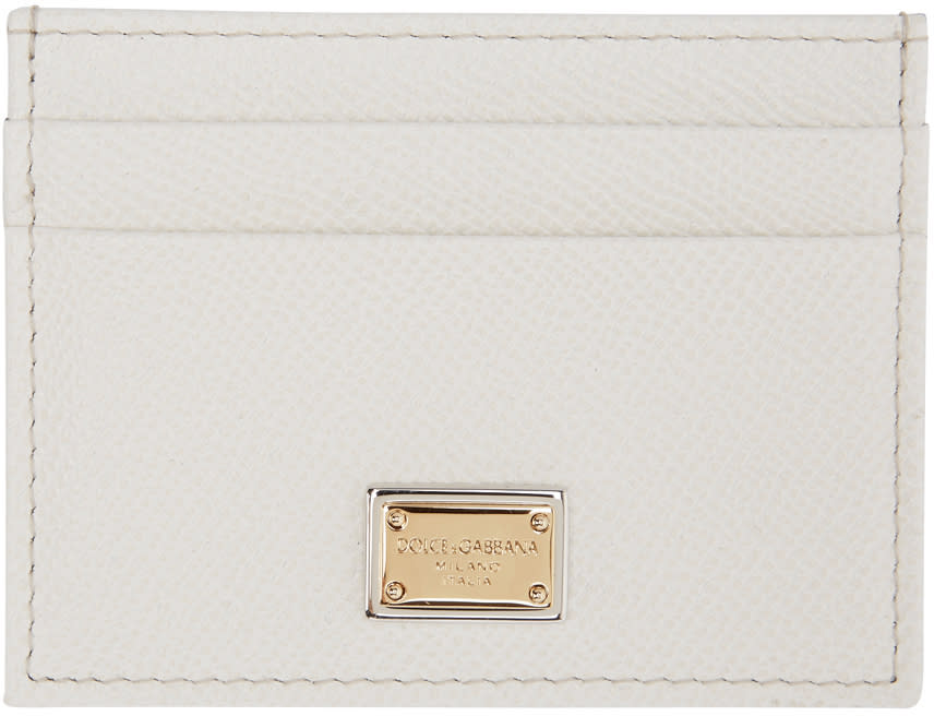 Dolce and Gabbana White Leather Card Holder