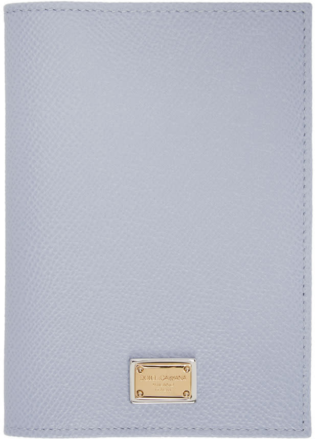 Dolce and Gabbana Blue Leather Passport Holder