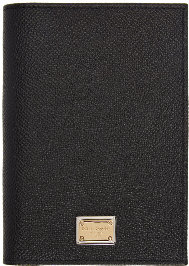 Dolce and Gabbana Black Leather Passport Holder