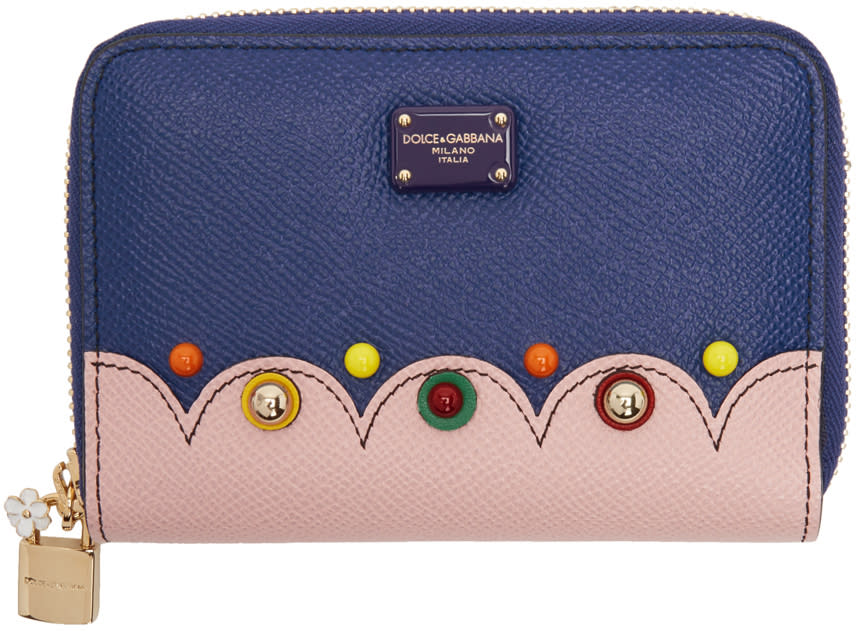 Dolce and Gabbana Blue Small Zip Around Wallet