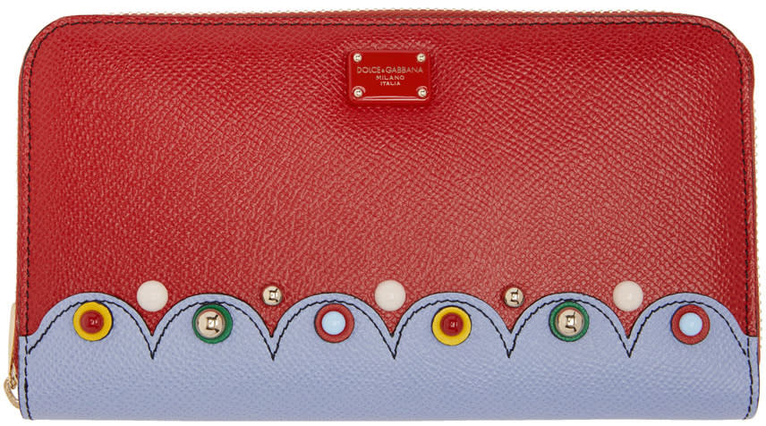 Dolce and Gabbana Red Continental Zip Around Wallet
