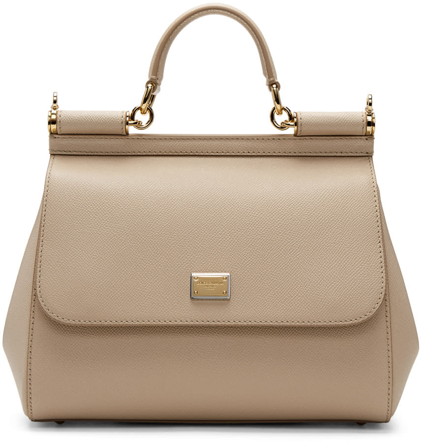 Image of Dolce and Gabbana Beige Medium Miss Sicily Bag