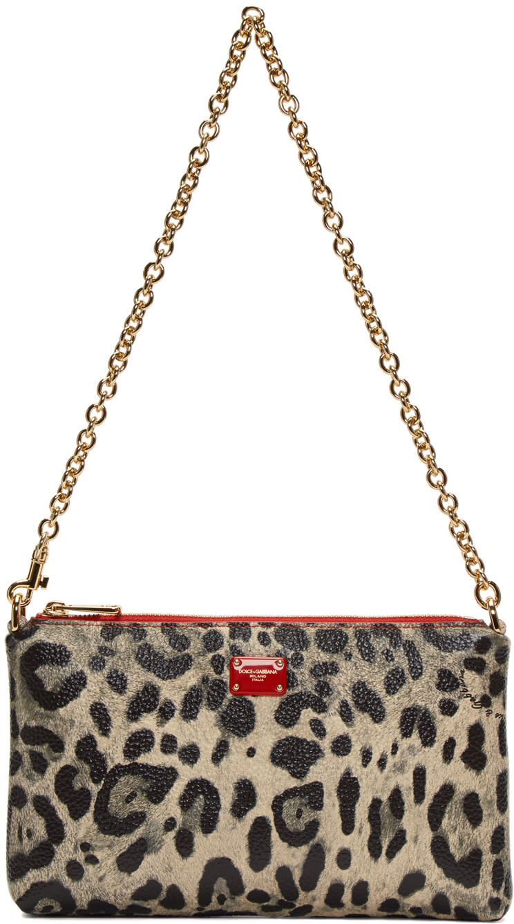 Image of Dolce and Gabbana Beige and Black Leopard Micro Bag