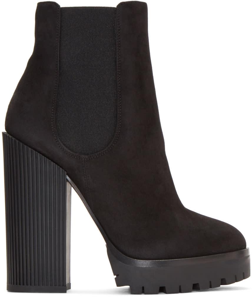 Dolce and Gabbana Black Suede Platform Boots