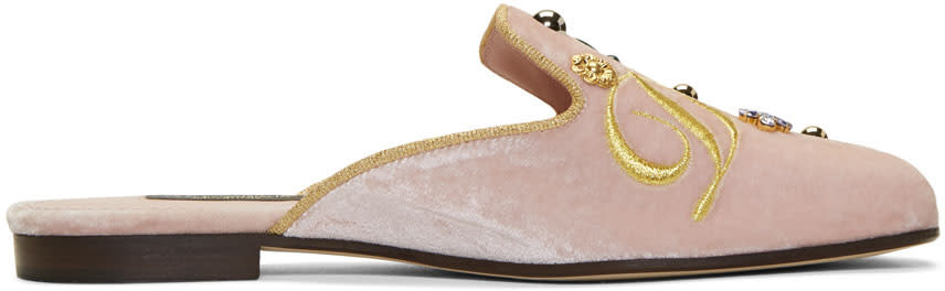 Dolce and Gabbana Pink Velvet Embroidered Mules