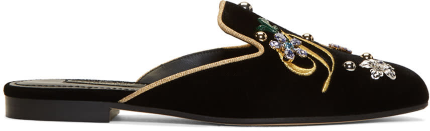 Dolce and Gabbana Black Velvet Embroidered Mules