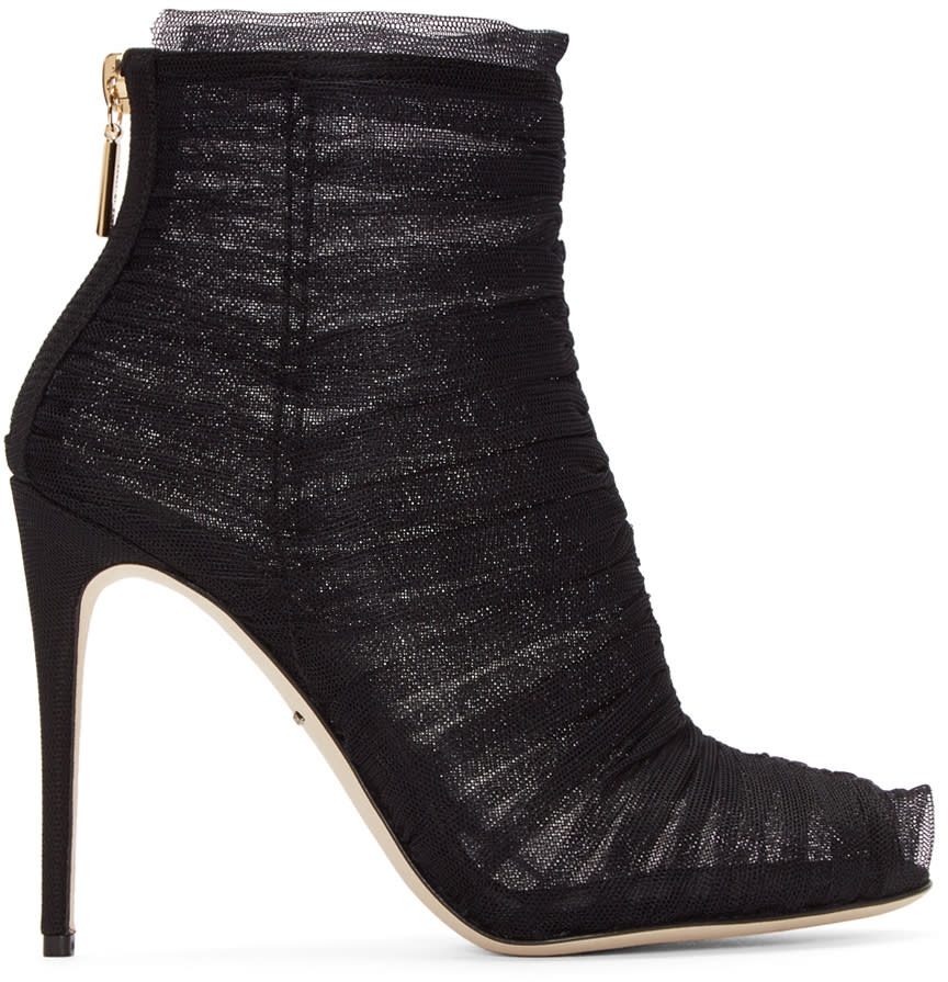 Dolce and Gabbana Black Ruched Tulle Boots