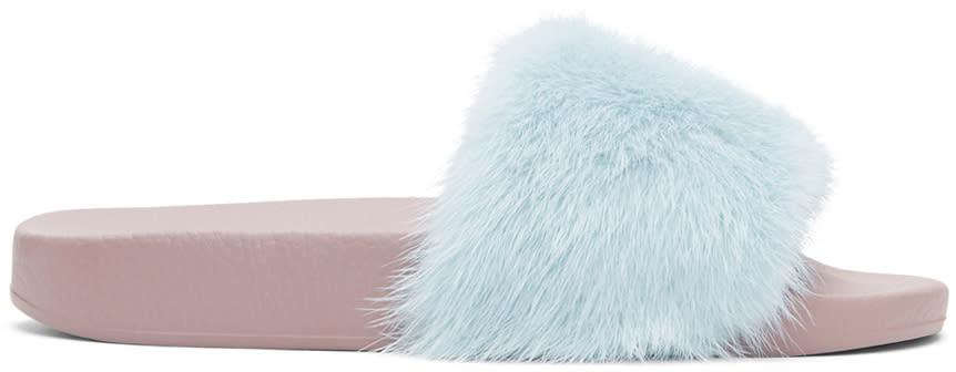 Dolce and Gabbana Blue Fur Slides