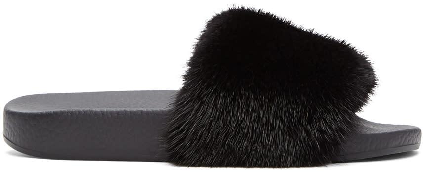 Dolce and Gabbana Black Fur Slides