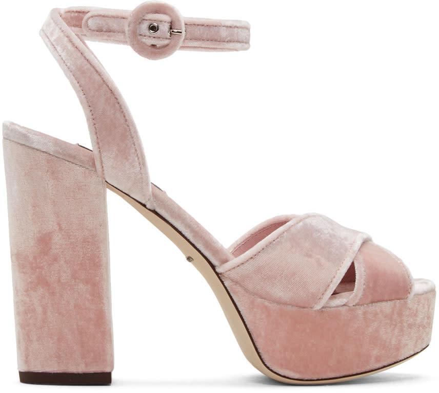 Dolce and Gabbana Pink Velvet Platform Sandals