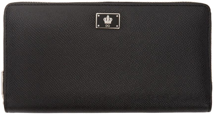 Dolce and Gabbana Black Crown Zip Wallet