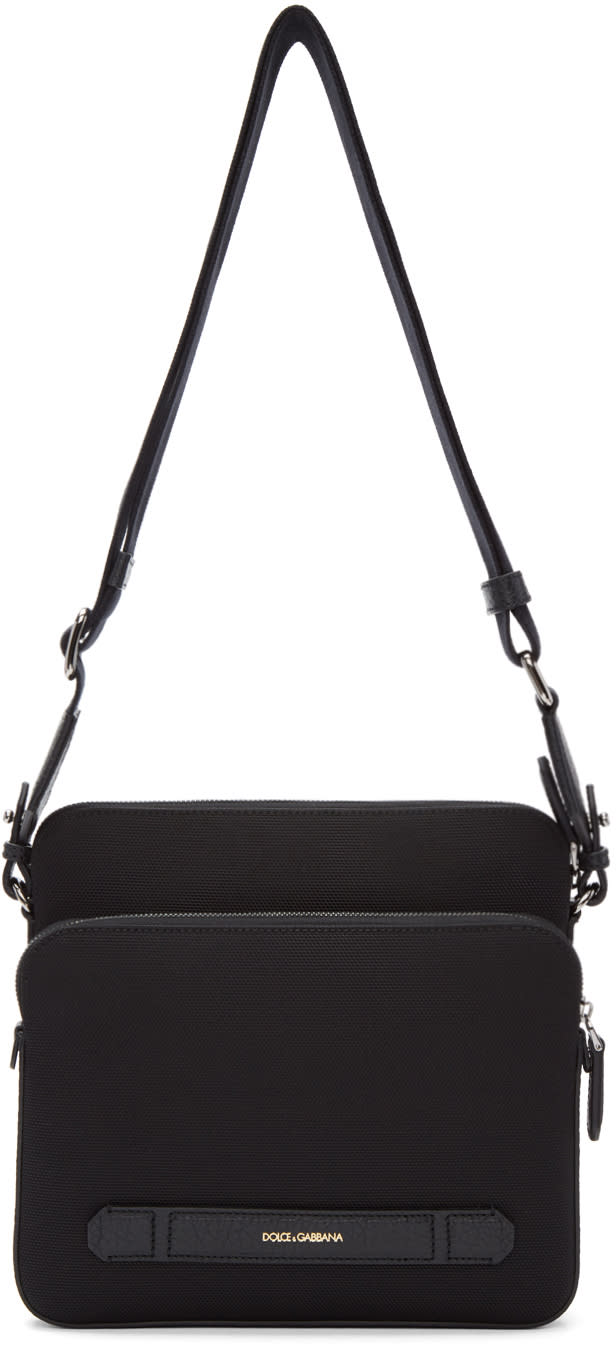 Image of Dolce and Gabbana Black Canvas and Leather Messenger Bag