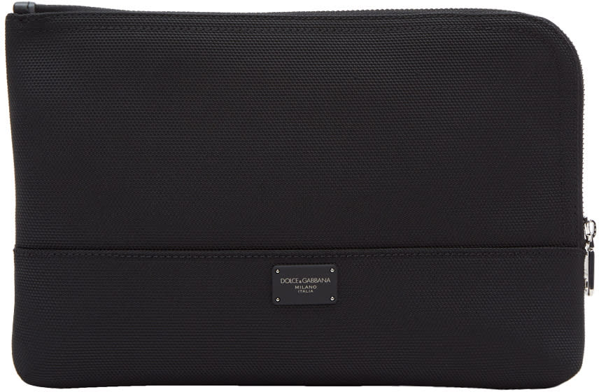 Image of Dolce and Gabbana Black Canvas Pouch