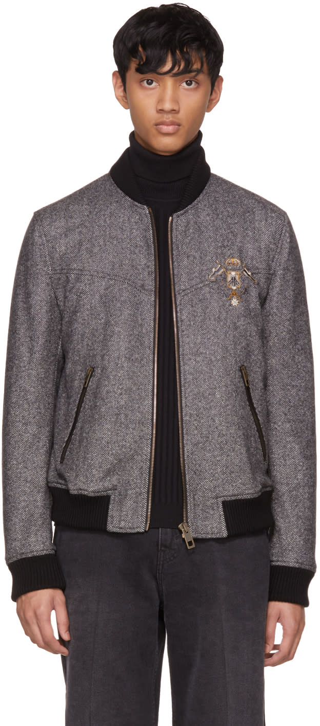 Image of Dolce and Gabbana Black and White Herringbone Crest Bomber Jacket