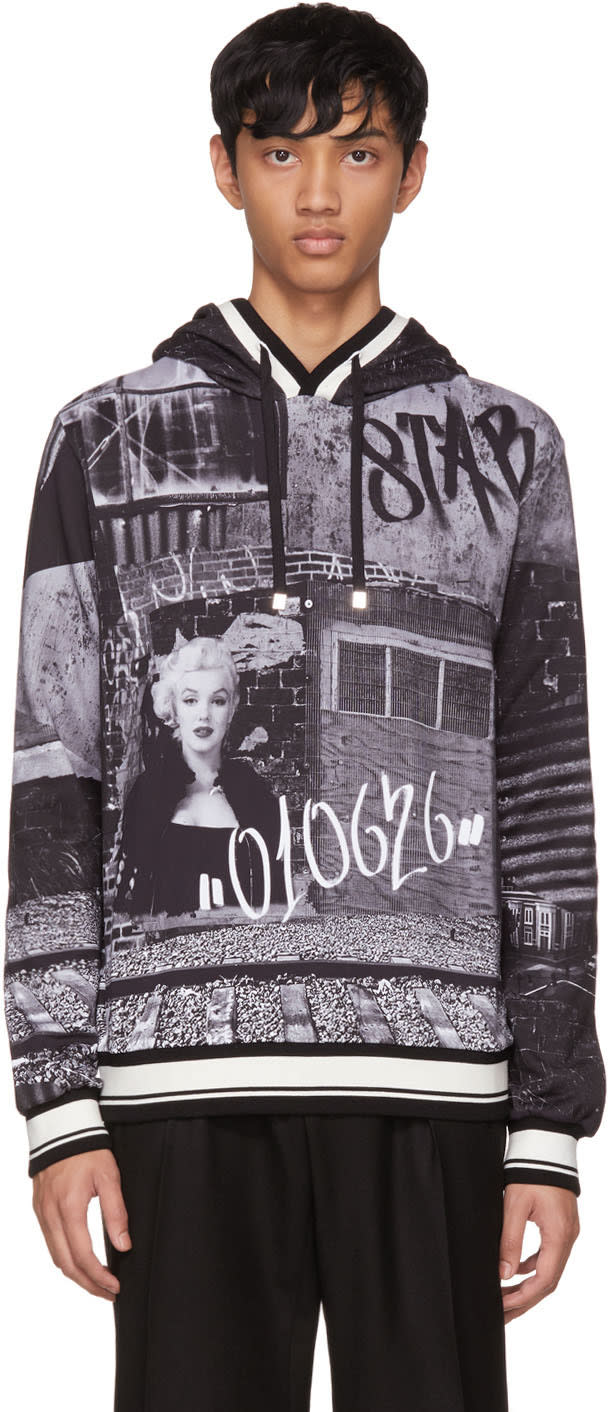 Image of Dolce and Gabbana Black and White Marilyn Hoodie