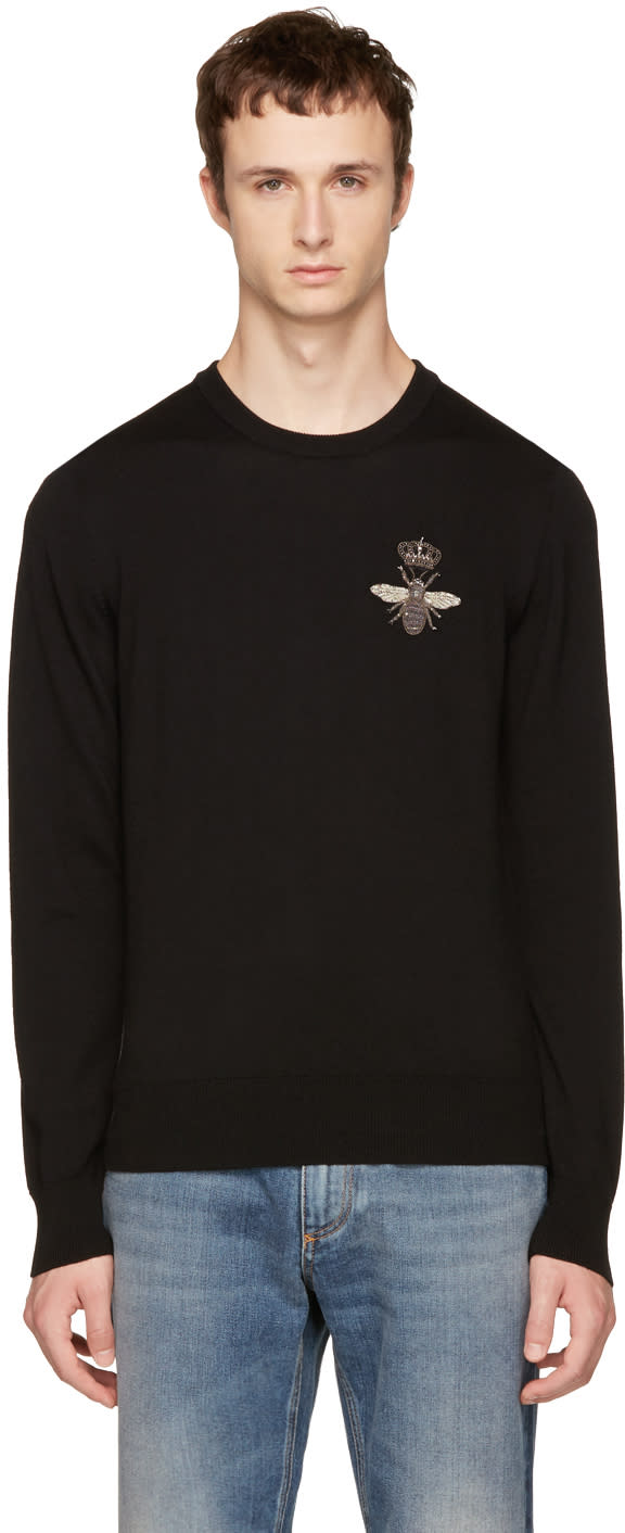 Image of Dolce and Gabbana Black Bee Sweater