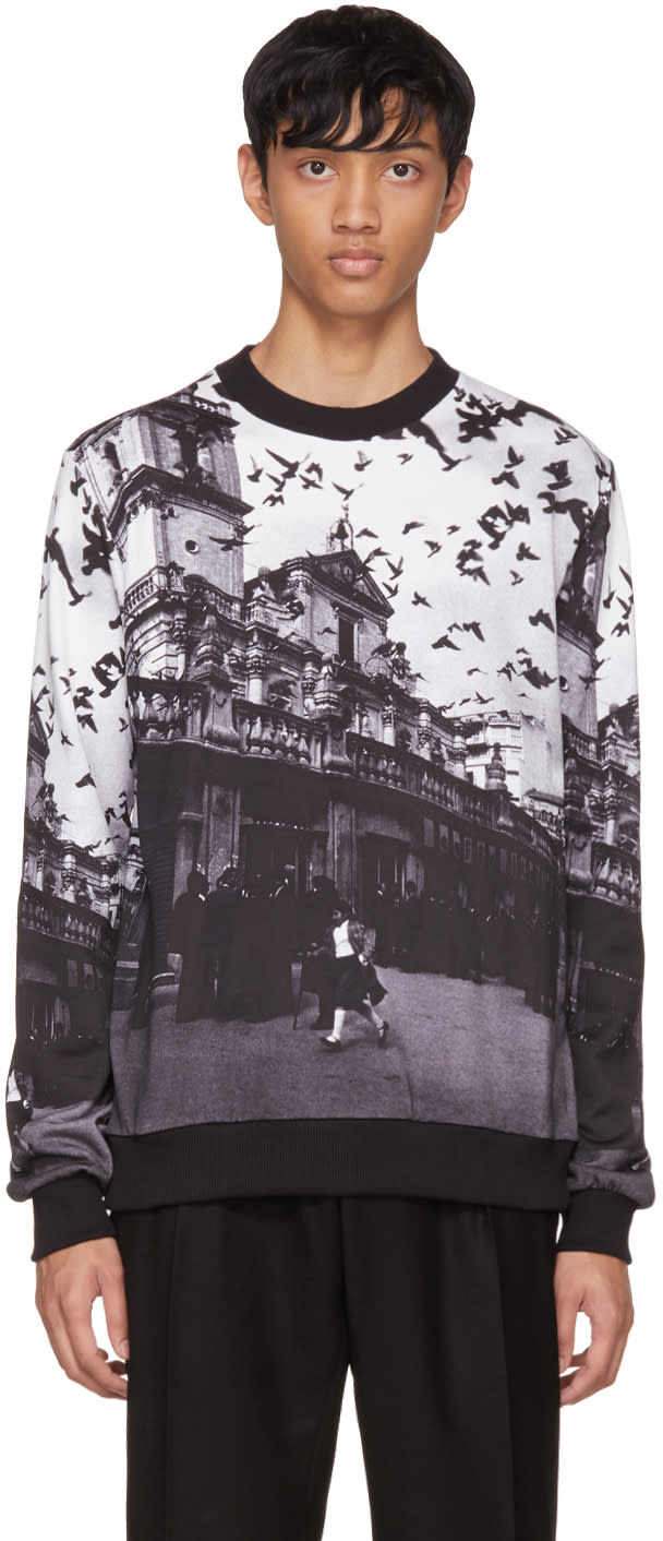 Image of Dolce and Gabbana Black and White Sicilia Sweatshirt